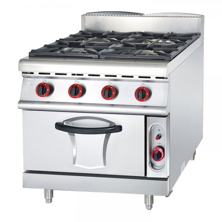 Commercial Kitchen Equipment 4 Burners Gas Stove With Electric Oven