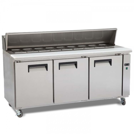 KT2 Restaurant Kitchen Stainless Steel Pizza Workbench Refrigerator with Cover