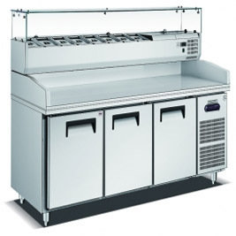 Stainless Steel Commercial Pizza Prep Table Refrigerator