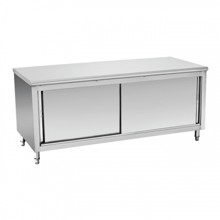 Restaurant Hotel Equipment Stainless Steel Kitchen Table Cabinet With Sliding Doors
